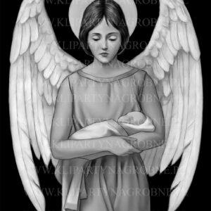 Anioł z dzieckiem grawer na nagrobek