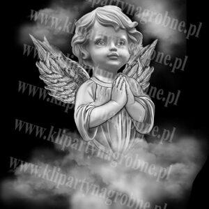 Aniołek modlący się grawer w kamieniu