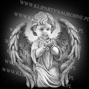 Anioł z gołąbkiem grawer na nagrobek